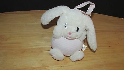 Bobo Buddies plush round bunny rabbit chime rattle baby soft pink striped hangs