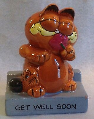1981 Enesco Garfield Figurine W/ Flower Get Well Soon