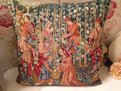 Vintage Tapestry Cushion MEDIEVAL FOLK IN FOREST SCENE