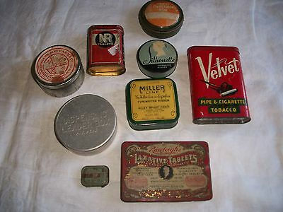 Lot of 9 Vtg Tins Advertising Medicine,Tobacco