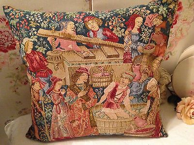 Vintage Tapestry Cushion MEDIEVAL FOREST SCENES