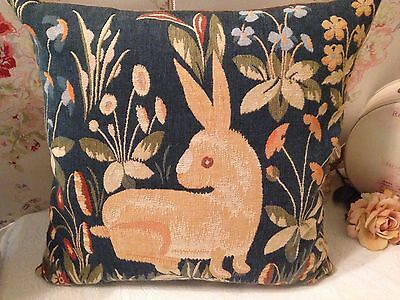 Vintage Tapestry Cushion MEDIEVAL RABBIT The Lady and The Unicorn