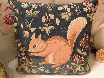 Vintage Tapestry Cushion MEDIEVAL Squirrel From Medieval Themed Tapestry