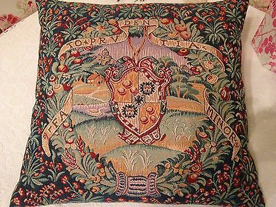 Vintage Tapestry Cushion MEDIEVAL COUNTRY SCENE and COAT of ARMS