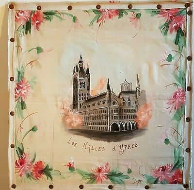 WW1 Hand Painted On Silk Image Of Les Halles d Ypres On Fire - Flanders
