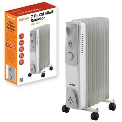 NEW Portable 7 Fin Oil Filled 1500w ELECTRIC HEATER 3 settings, Safety Cut Out