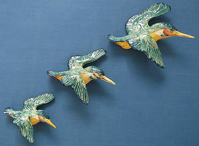 Beswick 3 Graduated Flying Kingfishers Birds Wall Plaques Ref 729-1 729-2 729-3