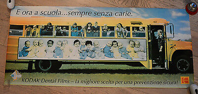 VINTAGE KODAK POSTER dental film school bus 110x48cm prevention campaign  cavity