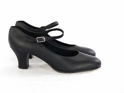 CAPEZIO STUDENT FOOTLIGHT Black Leather Dance Shoes Size 7.5N (Street size 7)