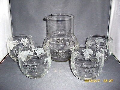 4 Vintage Seagram's Vo Roly Poly Glasses & Decanter Carafe World Map Frosted