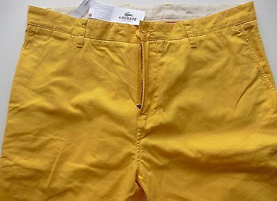 mens pants LACOSTE Cotton Chinos trousers YELLOW 34/34 NEW TAGS £99 SLIM FIT