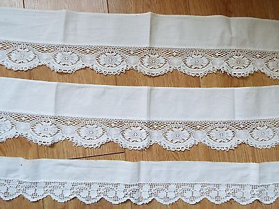 3 long and wide strips of vintage white cotton with lace attached (collars?)