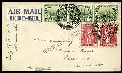 1925_IRAQ Baghdad-Cairo AIR MAIL to UK Bagdad FIRST STAMP SET 1923 ½ & 1½ annas
