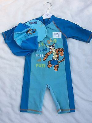 Tigger Sunsafe Baby Boys Swimsuit And Hat, Size 12-18m Excellent Condition