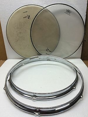 "Vintage 14"" 6 Lug Snare Drum Stick Saver Rims / Hoops With Heads - A787"