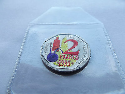 Enameled French 2 Francs coin