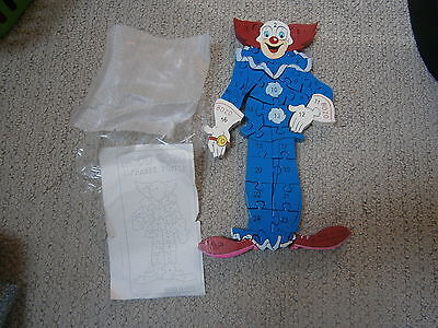 NEW OLD STOCK VINTAGE BOZO wooden PUZZLE LARRY HARMON CLOWN  alphabet & numbers
