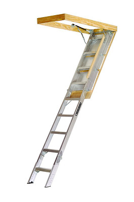 Louisville Ladder AA229GS Elite Aluminum Attic Ladder 350 Pound Capacity 22.5-In