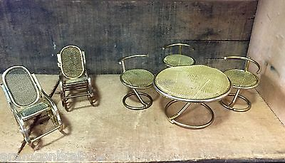 Vintage Antique Brass Dollhouse Furniture-Table & 3 Chairs- Rocking Chairs