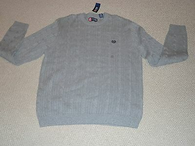 NWT!  Men's Chaps Cable Knit Sweater-Sz L-Light Gray
