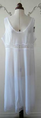 BNWT Vintage 1970's White Nylon Lace Trimmed Dress Slip UK Size 20-22