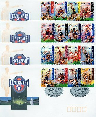 Australia 1996 AFL Football Centenary Set of 4 FDC