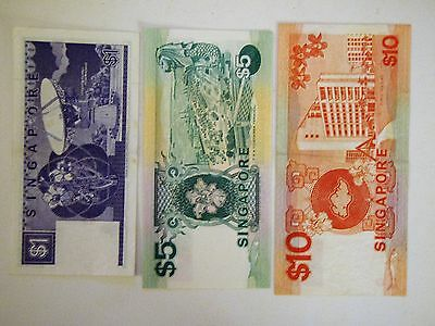 Singapore $1, $5 and $10 paper notes in AU condition, 1987 & 1989 series