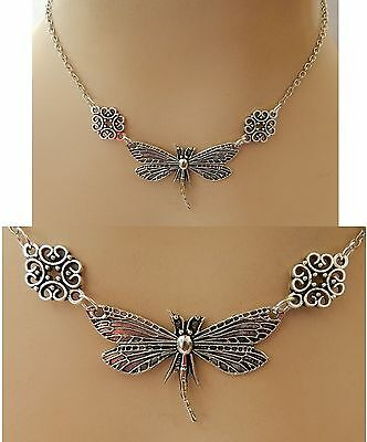 Silver Dragonfly Strand Necklace Jewelry Handmade NEW Chain Adjustable Fashion
