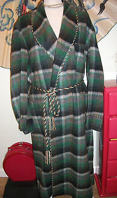 Vintage 1940S English Wool Check Plaid Robe Dressing Gown Smoking Morning Coat