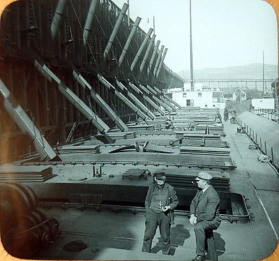 c1900 Loading Ore Boats on Great Lakes N. Central USA Photo Lantern Slide