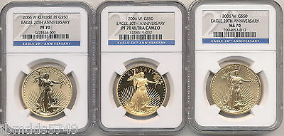 2006 W 20th ANNIVERSARY 3 COIN GOLD EAGLE SET NGC MS70,REV PF70, PF70 ULTRACAM