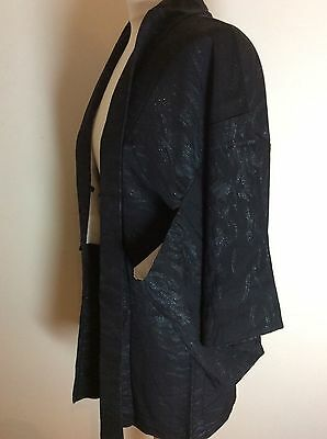 SALE-Vintage Gorgeous Japanese  Silk Haori Kimono Jacket Royal  Black lame  #59