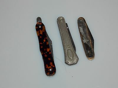 Lot Of 3 Miniature Pocket Knives. Sterling?