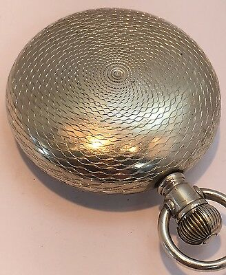 POCKET WATCH CASE ENGRAVED ENGINE TURNED  Size 18  AWCCO 847985 Silveroide