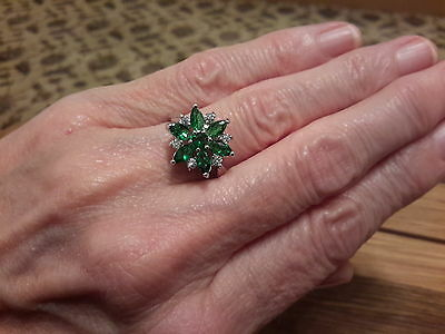 Brand new 18K White Gold Filled emerald look ring in size P