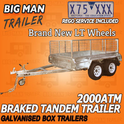 8X5 Galvanised Tandem Trailer Heavy Duty Cage 2000Kg With Rego