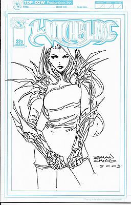 WITCHBLADE # 32 Blank Sketch Cover Sketched By Brian Ching One Of A Kind LQQK