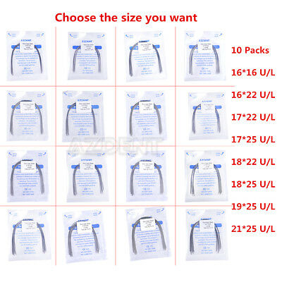 10 Packs Azdent Orthodontic Stainless Steel Arch Wire Natural Form All Sizes hT