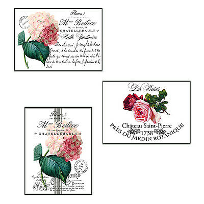 NeW! VinTaGe FrencH FLoRaL PosTcaRdS SHaBbY WaTerSLiDe DeCALs