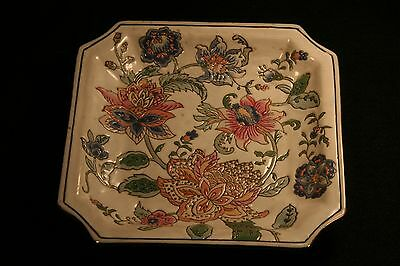 Andrea Sadek Plate Square Embossed Serving Dish Floral Handpainted Porcelain