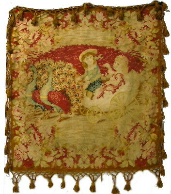 Antique Dolls in Peacock Carriage Tapestry Buggy Lap Robe Blanket Table Cloth