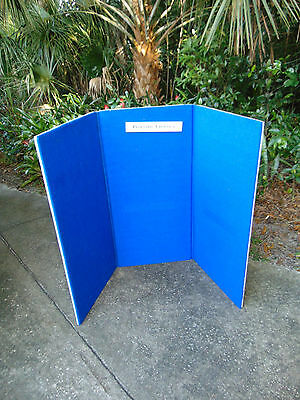 Large Blue Velcro 3 Panel Trifold Tabletop Display Exhibition Board