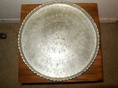 Antique Hand Chased Persian Silver Fruit Tea Tray Round Etched Paisley