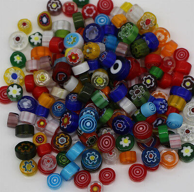Mixed Stained Glass Millefiori Beads Slices for DIY Mosaic Sheet Tiles 120g/lot