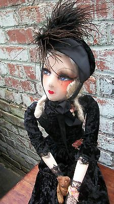 1920's 33'' French Jazz Age Boudoir Bed Doll With Her Antique Bear 2 5/8""
