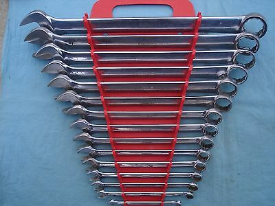 """LARGE SNAP ON STANDARD COMBINATION WRENCH SET #OEX715 1/4""""-1 1/8"""" 15 PC w/RACK"""