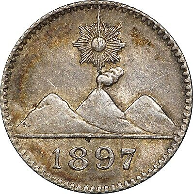 1897 Guatemala 1/4 Real, KM# 162, Lustrous AU or Better