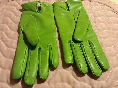 Pistachio Green Genuine Leather And Cashmere Lined Martelli Gloves Size 7