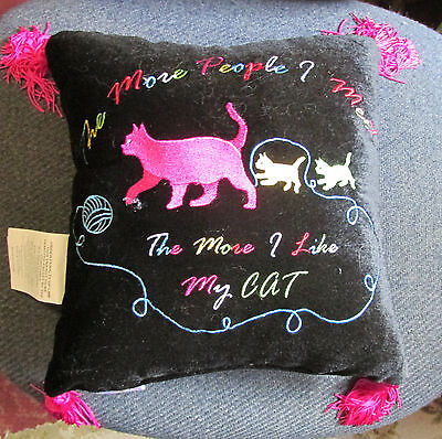 New In Stitches Throw Pillow -Black Cat Two Baby Kittens -Pink Tassels - Novelty