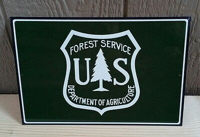 U.S. FOREST SERVICE EMBLEM LOGO 8x12 METAL SIGN IN ORIGINAL CELLOPHANE SLEEVE